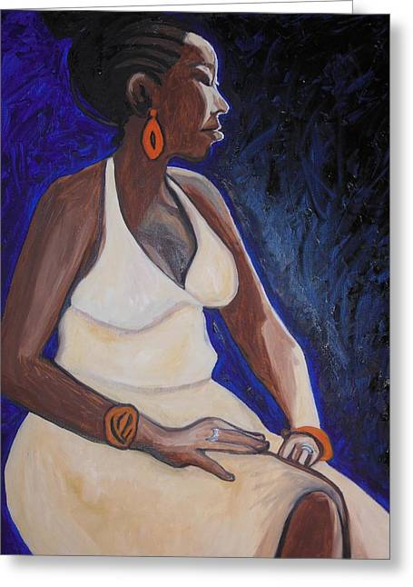 Live Art Greeting Cards - Portrait of an Ethiopian Woman Greeting Card by Esther Newman-Cohen