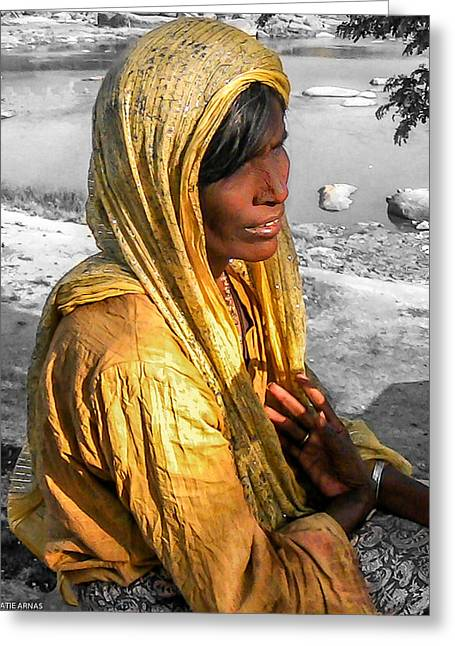 Daydream Greeting Cards - Portrait of an Indian girl Greeting Card by Catherine Arnas
