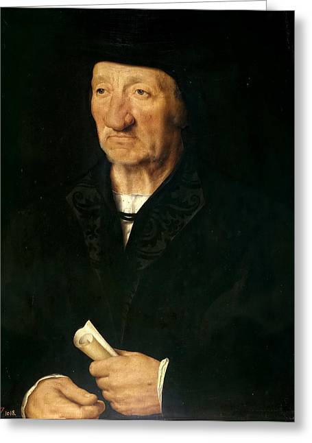 Cleves Greeting Cards - Portrait of an Old Man Greeting Card by Joos van Cleve