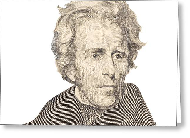 Portrait Of Andrew Jackson On White Background Greeting Card by Keith Webber Jr