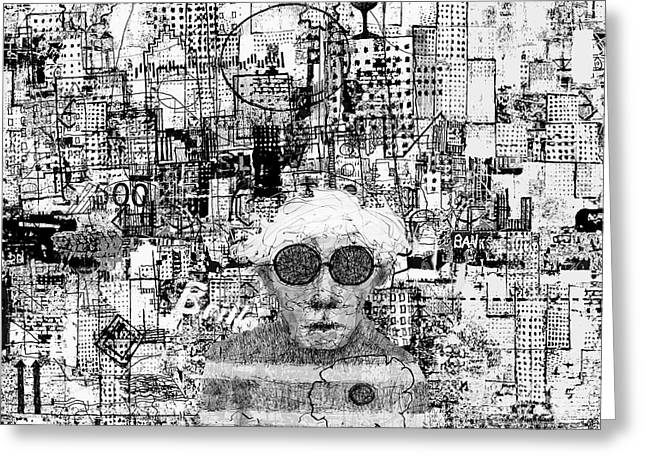 In-city Drawings Greeting Cards - Portrait of Andy by Andy Greeting Card by Andy  Mercer