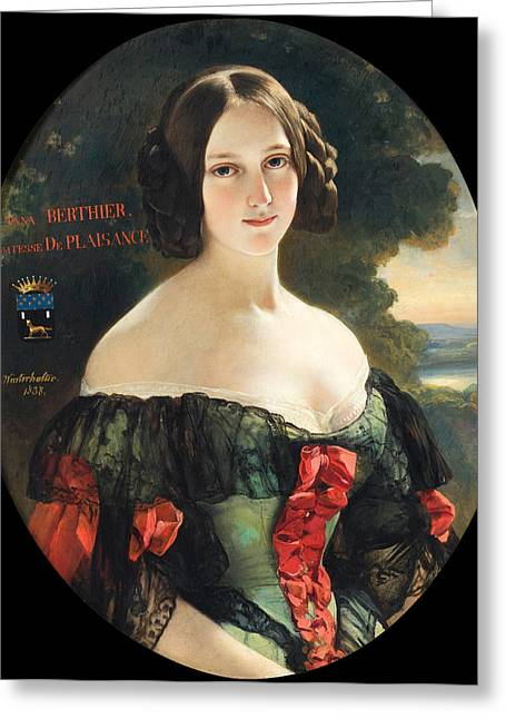 Franz Xaver Winterhalter Greeting Cards - Portrait of Anna Berthier Countess of Plaisance Greeting Card by Franz Xaver Winterhalter