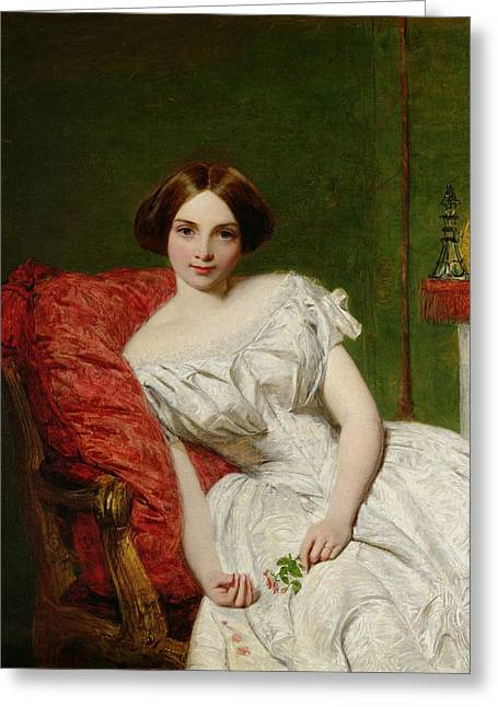 White Paintings Greeting Cards - Portrait Of Annie Gambart Greeting Card by William Powell Frith