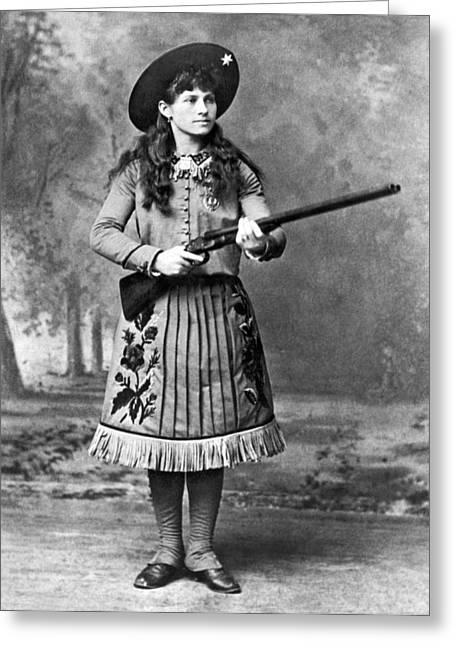 Portrait Of Annie Oakley Greeting Card by Underwood Archives