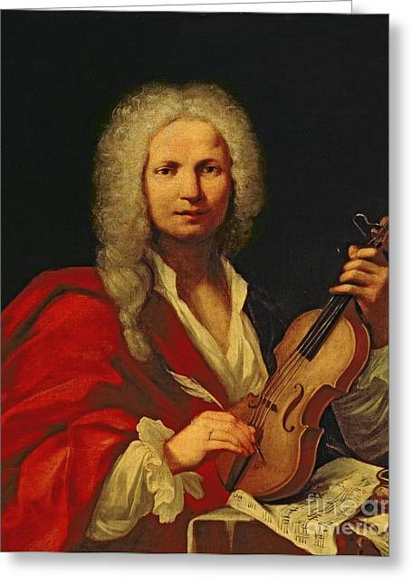 Composing Greeting Cards - Portrait of Antonio Vivaldi Greeting Card by Italian School