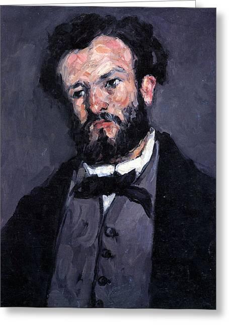 John Peter Greeting Cards - Portrait of Antony Valabrgue by Cezanne Greeting Card by John Peter