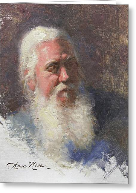 Old Man Greeting Cards - Portrait of Artist Michael Mentler Greeting Card by Anna Bain