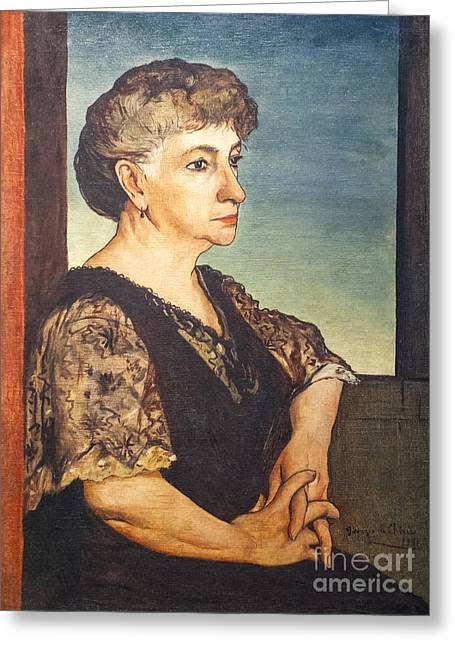 Chirico Greeting Cards - Portrait of artists mother by Giorgio de Chirico Greeting Card by Roberto Morgenthaler