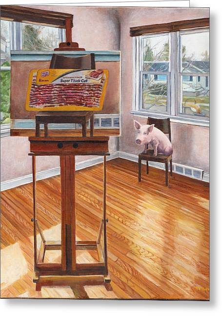 Interior Scene Greeting Cards - Portrait of Bacon Greeting Card by Thomas Weeks