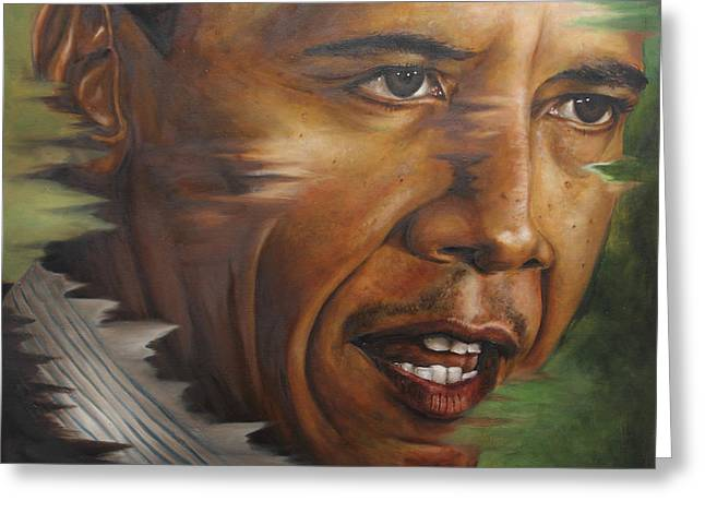 Recently Sold -  - Barack Greeting Cards - Portrait of Barack Obama Greeting Card by Ah Shui