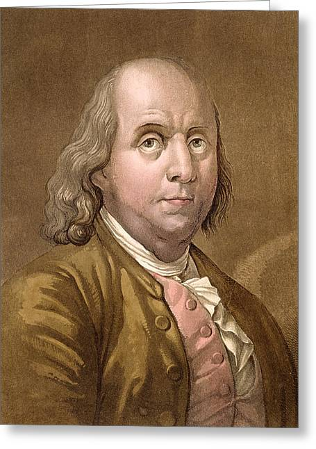 American Politician Drawings Greeting Cards - Portrait Of Benjamin Franklin , From Le Greeting Card by Gallo Gallina
