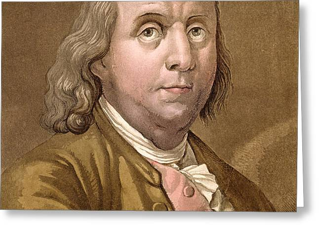 Portrait Of Benjamin Franklin , From Le Greeting Card by Gallo Gallina