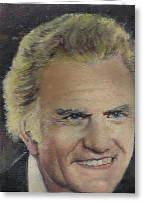 Christian Tapestries - Textiles Greeting Cards - Portrait of Billy Graham done by my father Greeting Card by Anne-Elizabeth Whiteway