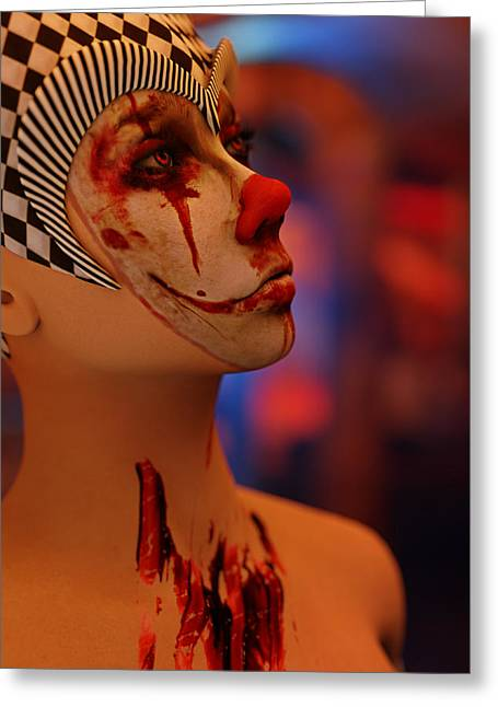 Killer Clown Greeting Cards - Portrait of Bloodwyn The Clown Greeting Card by Liam Liberty
