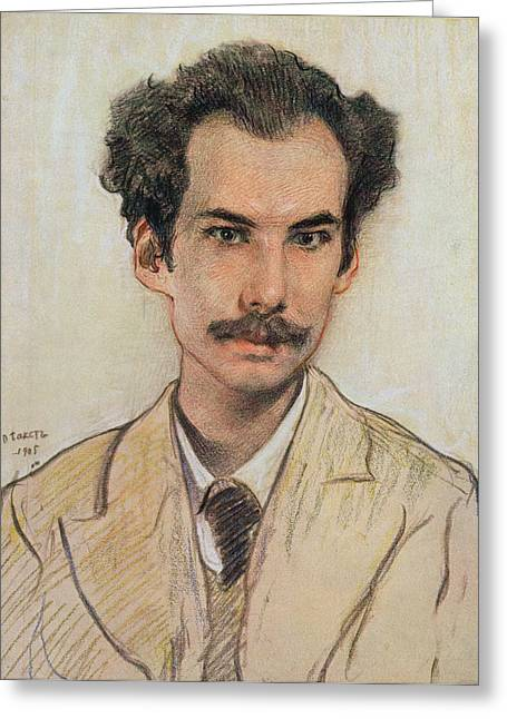 Poet Drawings Greeting Cards - Portrait Of Boris Nikolayevich Bugaev Greeting Card by Leon Bakst