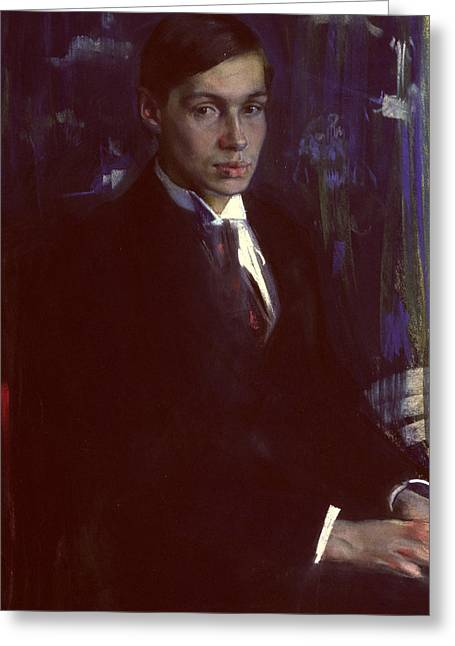 Youthful Paintings Greeting Cards - Portrait of Boris Pasternak Greeting Card by A A Murashko