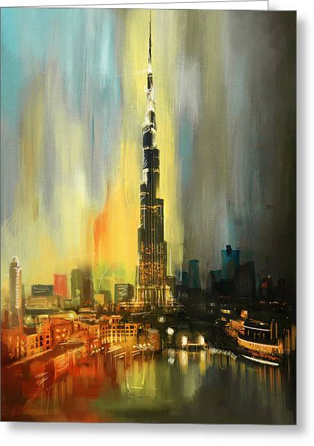 Tall Buildings Greeting Cards - Portrait of Burj Khalifa Greeting Card by Corporate Art Task Force