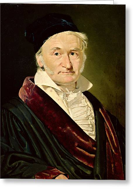 Sideburns Photographs Greeting Cards - Portrait Of Carl Friedrich Gauss, 1840 Oil On Canvas Greeting Card by Christian-Albrecht Jensen
