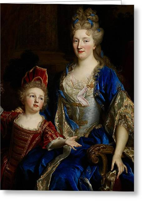 Corset Dress Greeting Cards - Portrait of Catherine Coustard Greeting Card by Nicolas de Largilliere