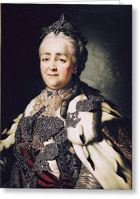 Earrings Photographs Greeting Cards - Portrait Of Catherine Ii 1729-96 Of Russia Oil On Canvas Greeting Card by Alexander Roslin