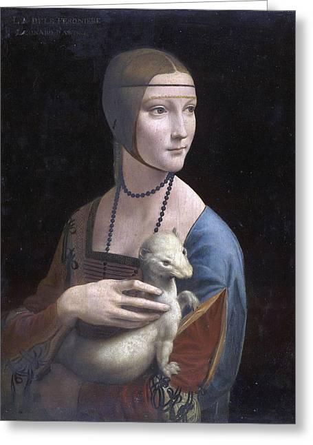 Crossed Hands Greeting Cards -  Lady with an Ermine.Portrait of Cecilia Gallerani Greeting Card by Leonardo da Vinci
