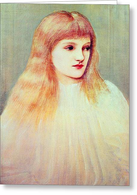 Pre-raphaelites Photographs Greeting Cards - Portrait Of Cecily Horner, 1895 Oil On Canvas Greeting Card by Sir Edward Coley Burne-Jones