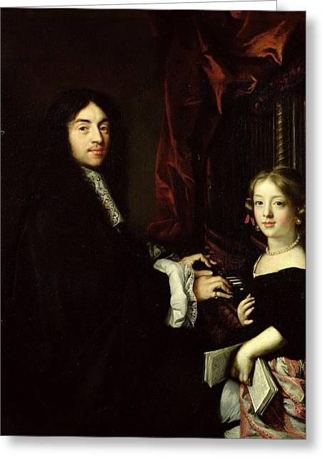 Organist Greeting Cards - Portrait Of Charles Couperin 1638-79 And The Daughter Of The Artist, 1665-79 Oil On Canvas Greeting Card by Claude Lefebvre