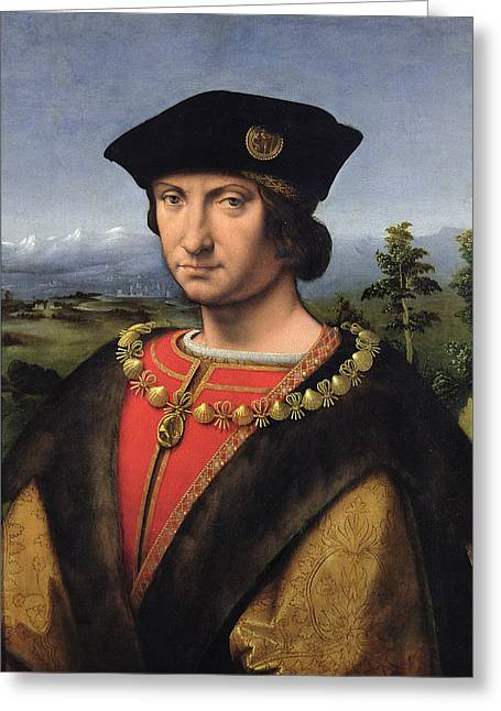 Marechal Greeting Cards - Portrait Of Charles Damboise 1471-1511 Marshal Of France Oil On Panel Greeting Card by Antonio da Solario