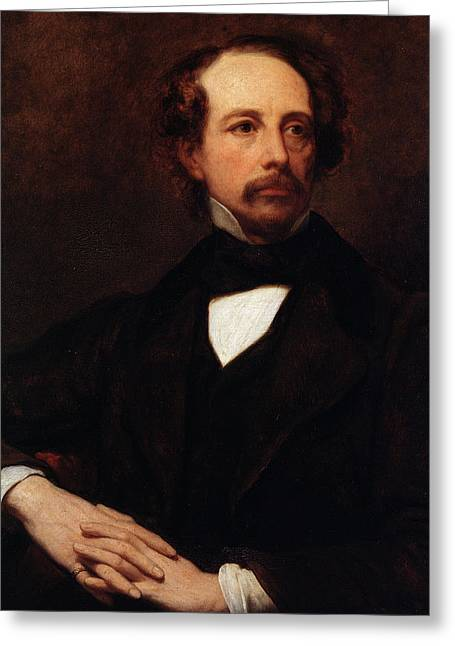 Portrait Of Charles Dickens Greeting Card by Ary Scheffer