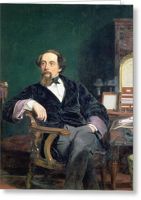 Desk Paintings Greeting Cards - Portrait Of Charles Dickens Greeting Card by William Powell Frith
