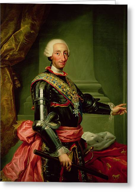 King Greeting Cards - Portrait Of Charles Iii 1716-88 C.1761 Oil On Canvas Greeting Card by Anton Raphael Mengs