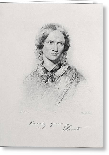 Pensive Drawings Greeting Cards - Portrait Of Charlotte Bronte, Engraved Greeting Card by George Richmond