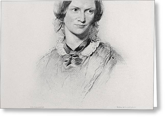 Portrait Of Charlotte Bronte, Engraved Greeting Card by George Richmond