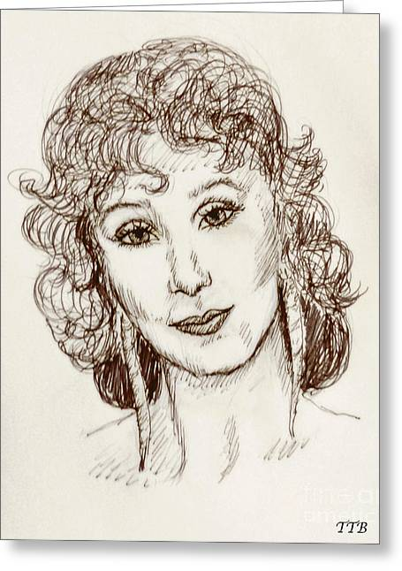 Pen And Ink Framed Prints Paintings Greeting Cards - Portrait of Cher Greeting Card by Art By - Ti   Tolpo Bader