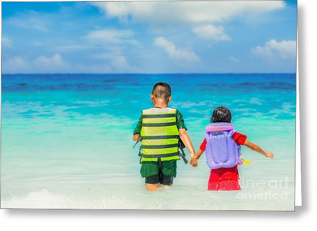Life Jacket Greeting Cards - Portrait Of Children In Life-jackets  Greeting Card by Anek Suwannaphoom