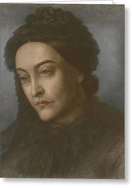 Writer Drawings Greeting Cards - Portrait Of Christina Rossetti, Head Greeting Card by Dante Gabriel Charles Rossetti