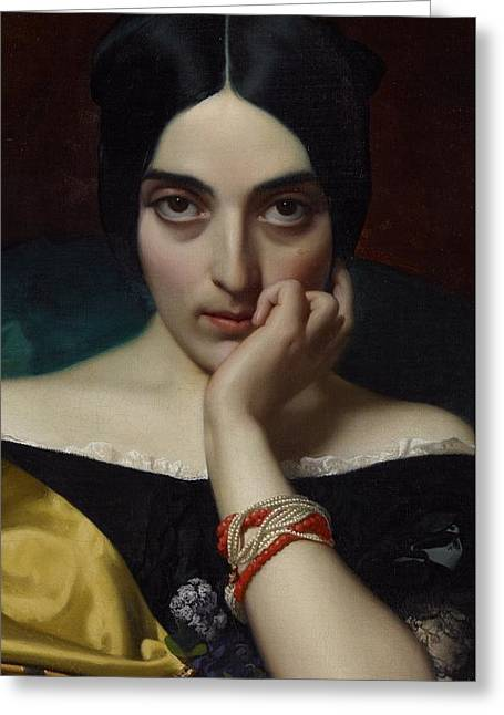 Woman Head Greeting Cards - Portrait of Clementine Greeting Card by Henri Lehmann