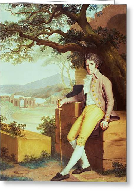 Banker Greeting Cards - Portrait Of Colonel David La Touche Of Marcey With The Amphitheatre Of Taormina And Etna Behind Greeting Card by Anna Nistri Tonelli