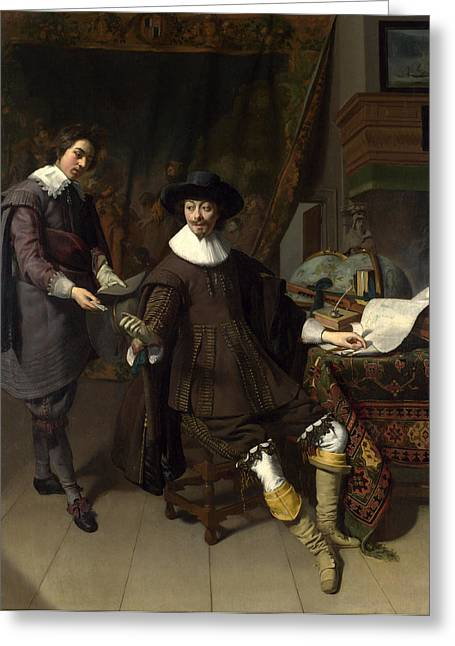 Clerk Greeting Cards - Portrait of Constantijn Huygens and his Clerk Greeting Card by Thomas de Keyser