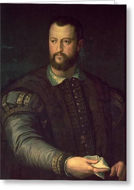 Handkerchief Greeting Cards - Portrait Of Cosimo I De Medici 1519-74 1559 Oil On Canvas Greeting Card by Agnolo Bronzino