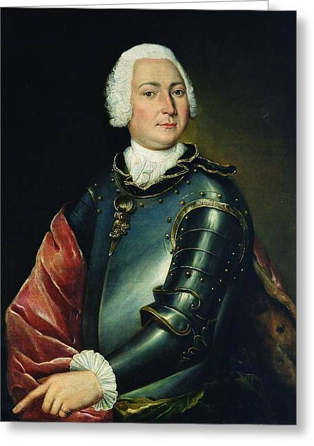 Breastplate Greeting Cards - Portrait Of Count Ernst Christoph Von Manteuffel Oil On Canvas Greeting Card by Lucas Conrad Pfanzelt