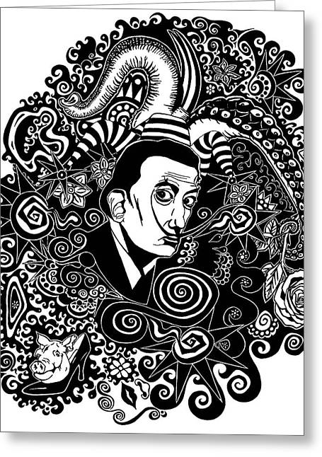 Famous Person Drawings Greeting Cards - Portrait of Dali Greeting Card by Patrick Wright