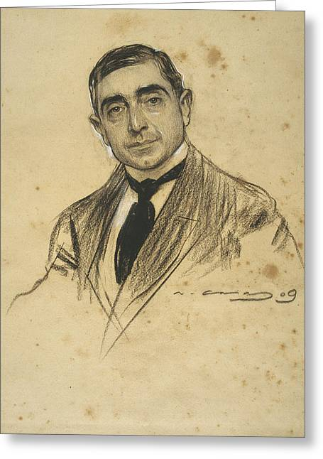 Portrait Of Dionis Baixeras Greeting Card by Ramon Casas