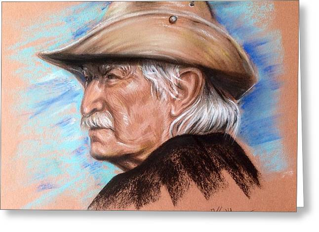 Gray Hair Pastels Greeting Cards - Portrait of Djoko Rossich Greeting Card by Katerina Kovatcheva