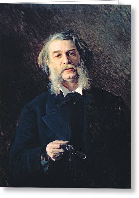 Sideburns Greeting Cards - Portrait Of Dmitri Vasilievich Grigorovich 1822-99, 1876 Oil On Canvas Greeting Card by Ivan Nikolaevich Kramskoy