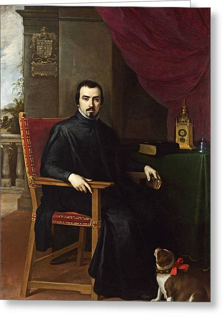 Bartolome Esteban Murillo Greeting Cards - Portrait of Don Justino de Neve Greeting Card by Bartolome Esteban Murillo