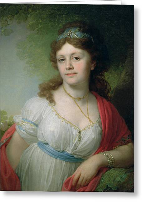 Alexandrovich Greeting Cards - Portrait Of E. Temkina, 1798 Oil On Canvas Greeting Card by Vladimir Lukich Borovikovsky