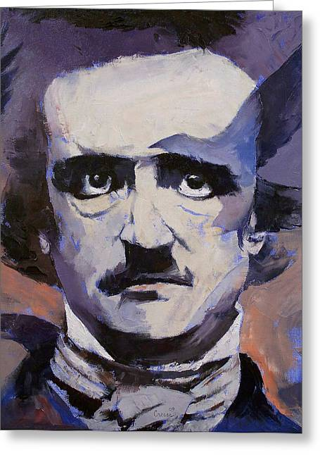 Edgar Allan Poe Greeting Cards - Portrait of Edgar Allan Poe Greeting Card by Michael Creese