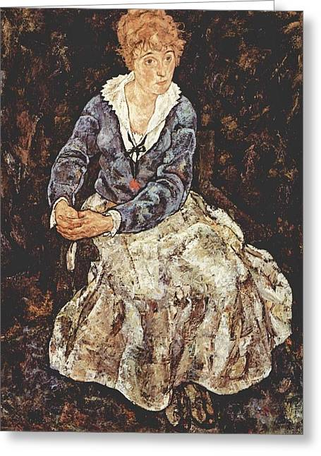Neo Expressionist Greeting Cards - Portrait of Edith Schiele Greeting Card by Egon Schiele