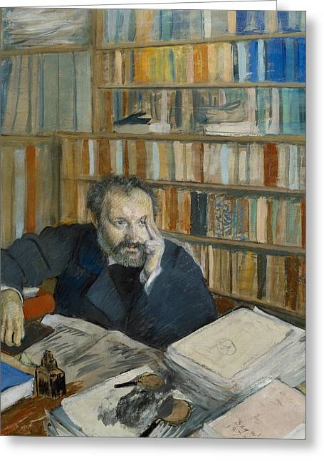 Pensive Drawings Greeting Cards - Portrait Of Edmond Duranty, 1879 Greeting Card by Edgar Degas